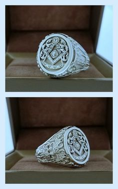 FB Jewels 925 Sterling Silver CZ Cubic Zirconia Embossed Mens Masonic Ring