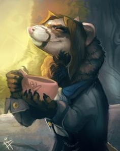 Commission for Falconpunch on FA of his dapper ferret man having a cup of tea.