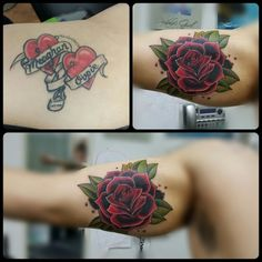 Before and after cover-up with a traditional rose Time Tattoos, Body Art Tattoos, Cool Tattoos, Tattoo Fails, Feminine Tattoo Sleeves, Feminine Tattoos, Traditional Tattoo Cover Up, Cover Up Tattoos Before And After, Rose Tattoo Cover Up