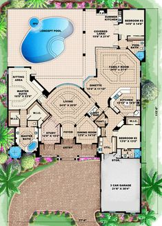 Mediterranean Plan: 3,742 Square Feet, 3 Bedrooms, 3 Bathrooms - 1018-00100 Florida House Plans, Florida Home, Plans Architecture, French Country House Plans, Mountain House Plans, Cool Minecraft Houses, House Plans One Story, Square Feet, Planer