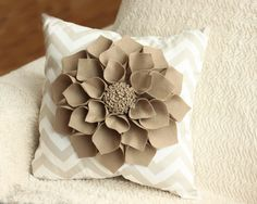 "16x16"" Taupe Chevron Throw Pillow with Large Taupe Wool Felt Dahlia Flower. $45.00, via Etsy."
