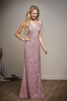ef19a1842d87 L204008 Long V-neck Lace Bridesmaid Dress