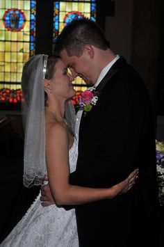 """This photo shows the first time Mike Block ('07) and Margaret ('06) saw each other on their wedding day at """"The Chapel"""""""