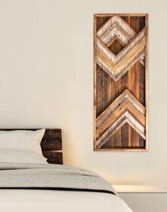 Items similar to Large Reclaimed wood wall art - Chevron - Behind bed wall art - Barn Wood on Etsy Reclaimed Wood Wall Art, Reclaimed Wood Projects, Wooden Wall Art, Diy Wall Art, Barn Wood, Repurposed Wood, Salvaged Wood, Rustic Wood Decor, Geometric Wall Art