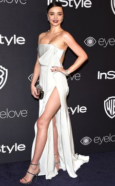 Miranda Kerr wears a strapless ivory August Getty Atelier gown with Giuseppe Zanotti Design heels, a Jimmy Choo clutch and Hearts on Fire jewelry to the InStyle party. Miranda Kerr Outfits, Miranda Kerr Style, Sexy Dresses, Beautiful Dresses, Fashion Dresses, Giuseppe Zanotti Heels, Red Carpet Dresses, Red Carpet Fashion, Fashion Models
