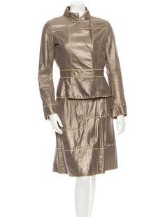 Louis Vuitton Leather Skirt Suit