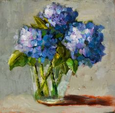"Daily Paintworks - ""Blue Hydrangea"" - Original Fine Art for Sale - © Martha Lever Art Floral, Hydrangea Painting, Abstract Flowers, Beautiful Paintings, Flower Art, Watercolor Paintings, Oil Paintings, Painting Inspiration, Images"