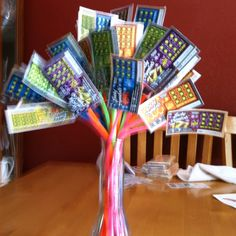 30th birthday gift. Used 30 $1.00 lotto cards for a friend who loves to do these for fun. Then glued them in pipe cleaners to make a bouquet for her.