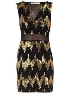 Dorothy Perkins  Black and gold zig zag dress $17