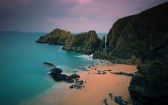 Sandy beach on a rocky island