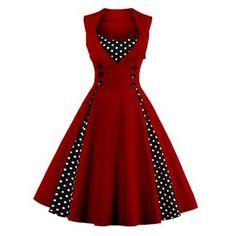 Women's Polka Dot Print Elegant P Bodycon Vestidos Vintage Dress Robes Vintage, Retro Vintage Dresses, Retro Dress, Vintage Outfits, Vintage Prom, Vintage Sailor, Pin Up Dresses, Plus Size Dresses, Fashion Dresses