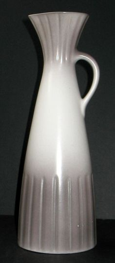 """Mid Century Modern Lapid Pottery Israel Pitcher Ewer Vase Taupe Gray White 11""""H"""
