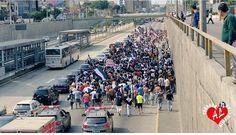 Alianza Lima: Comando Sur se trasladó a Matute por la Vía Expresa. Enero 27, 2015.