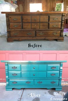 Vintage dresser painted blue before and after pictures. Refinished by Kelly's Creations. https://www.facebook.com/pages/Kellys-Creations-Refinished-Furniture/524028237619793?ref=hl