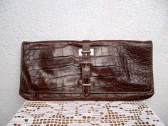 Claudia Firenze Crock Embossed Genuine Leather Cluch Wallet, Brown Handbag, Reptile Purse, Envelope Purse, Womens Organizer, Made in Italy by BlastFromThePastBags on Etsy