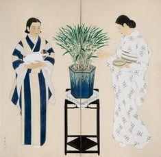 "taishou-kun: "" Tateishi Harumi 立石春美 (1906–1994) Ran 蘭 (Orchid) - byoubu 屏風 - 1933 """