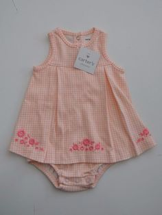 Infants Girl's Carter's 100% Cotton Sleeveless One Piece Outfit Sz 6 Month Sale #Carters #Everyday