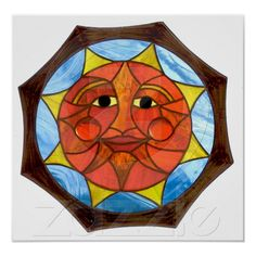 Stained glass sun art