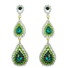 """Ever Faith 18K GP Elegant Floral Dual Drop Pierced Dangle Earring Green Austrian Crystal Ever Faith. $16.95. Austrian Crystal (one of the best quality crystals in the world ). 3.07"""" by 0.79"""". Vibrant and groovy. You will fall in love with these colorful earrings. Nothing but fun and quality."""