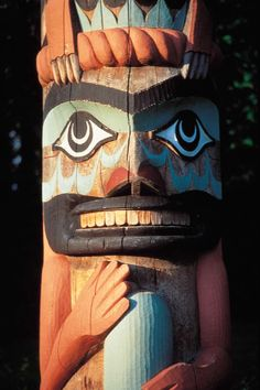 First Nations totem pole in Tofino on Vancouver Island, British Columbia