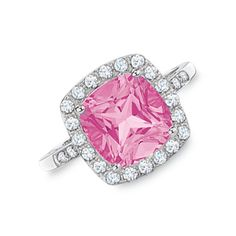 My sweet husband got this foe me!!  Love him!!!  Lab-Created Pink and White Sapphire Ring in 10K White Gold with Diamond Accents - View All Rings - Zales