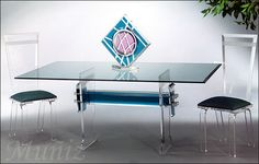 Lucite Dining Table with Acrylic Chairs from Muniz Plastics (Victory Model) Acrylic Chair, Acrylic Furniture, Acrylic Table, Dining Set, Dining Table, Dining Room, Restaurant Tables, Decorating Small Spaces, Table Games