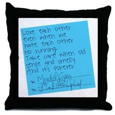Greys Anatomy: Post It Throw Pillow on CafePress.com