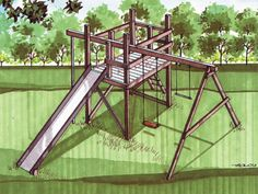 playhouse forts with swings Patio Swing Set, Swing Set Plans, Gym Plans, Swing Sets, Kids Backyard Playground, Backyard For Kids, Playground Ideas, Backyard Ideas, Outdoor Play