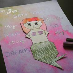 Origami Meerjungfrau in Aquarellfarben #art #kunst #origami #origamiart #origamimeerjungfrau #mermaid #mermaidart #mermaidariel #disney…