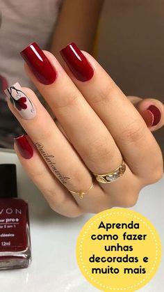 Polygel Nails, Red Nails, Red Nail Art, Cute Nails, Pretty Nails, Simple Acrylic Nails, Pink Acrylic Nails, Elegant Nails, Stylish Nails