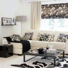 diseño salon pequeño en blanco y negro
