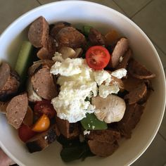 Kids & hubby's lunch today. Salad, sausage & goats fetta. Mine was similar but egg instead of sausages. Quick, easy, tasty, nutritious  #cutoutthecrap #lunch #easyfood #foodideas #nutritious #leftovers #allergies #intolerances #yum #foodideas #collettewhite #coeliac
