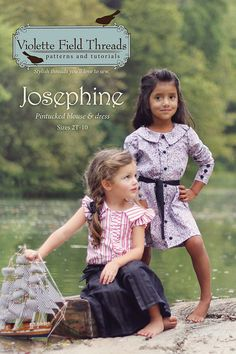 The Josephine Blouse and Dress has so much nostalgic charm. The timeless design features pintucks and a ruffle button tab. Josephine can be worn year round with the optional long or flutter sleeves. A tailored collar and optional waist sash complete the look. Sizes 2-10 yrs.