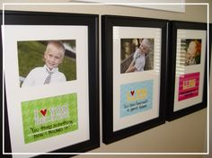 framed love notes to your kids...cute idea