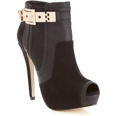 Miss Selfridge Bobbi Gold Buckle Boot