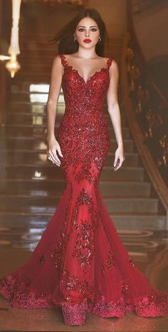 2017 Red Mermaid Prom Dresses Sequins Shiny Sheer Open Back Sleeveless Evening Gowns