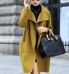 MEXI Women's Double-sided Handmade Long Woolen Casual Coat Outerwear Plus Size Minimalist Winter Outfit, Modele Hijab, Coats For Women, Clothes For Women, Looks Street Style, Winter Mode, Lookbook, Outerwear Women, Fashion Outfits
