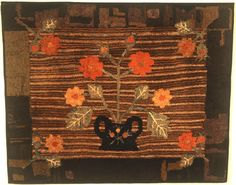 """Pot of Flowers Hooked Rug  Probably New England, Ca. 1900-10.   Wool and cotton in a folky motif.    40 1/2"""" wide x 33"""" high."""