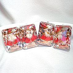 Bradford Plastic Pixie Santa Jewel Cube Christmas Ornaments