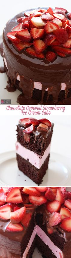 Homemade Chocolate Covered Strawberry Ice Cream Cake