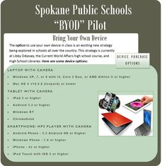 Spokane public schools are running a pilot study to allow students to bring their own devices. This will be interesting to see if the positives will outweigh the negatives. (0792)