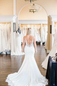 Modern meets sexy in this sleek silhouette by wedding dress designer Stella York. Sleek Wedding Dress, Sheath Wedding Gown, Sexy Wedding Dresses, Designer Wedding Dresses, Sheath Dress, Wedding Gowns, Trendy Fashion, Fashion Outfits, Curvy Bride