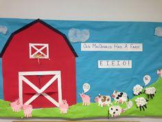 Goffs Pre-K Tales: Our Farm Unit in Pictures - Nutztiere Preschool Classroom Decor, Preschool Themes, Classroom Themes, Preschool Activities, Preschool Farm, Educational Activities, Farm Bulletin Board, Toddler Crafts, Crafts For Kids