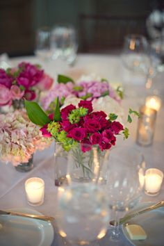 Flowers and candles - pinks