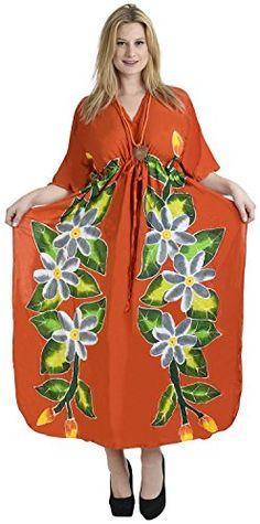 f85869e077 Womens Beachwear Long Dress Caftan Loose Dress Printed Red HK102 US 14 20W  Spring Summer 2017