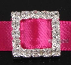 50 Pcs Square Rhinestone Buckle Invitation Ribbon Slider For Wedding Supplies $12.80