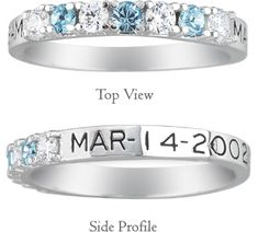 ApplesofGold.com - Personalized Alternating Gemstone Birthstone Ring.  Would love to have this with my kids three birthstones and birth dates