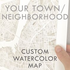 Custom Watercolor Art Map YOUR TOWN Block Plan (Original Watercolor Commission) Painting Wedding Gift Anniversary Graduation Staunton Virginia, Richmond Virginia, Wedding Anniversary Gifts, Wedding Gifts, Detroit Michigan, Cleveland Ohio, Chicago Illinois, Georgetown Washington Dc, New England Usa