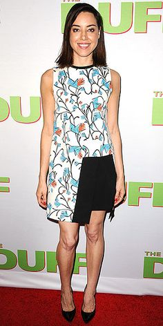 Last Night's Look: Love It or Leave It? Vote now! | AUBREY PLAZA | in a print Tanya Taylor dress with black panel, black heels and minimal jewelry for the Duff fan screening in L.A.
