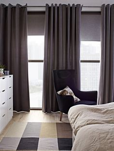 Whether you'd like to rise and shine with the sun, or sleep in a little longer, you can control the amount of sunlight shining into your bedroom with curtains and blinds - from sheers that simply filter to black-outs that keep the room dark.